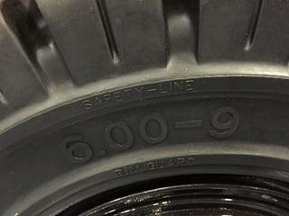 forklit tire showing safety line