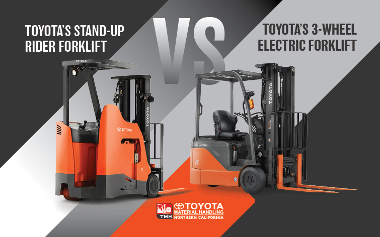 toyota 3-wheel electric forklift vs stand-up rider
